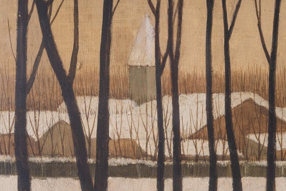 Ryonosuke Fukui Ryonosuke Fukui (1924-1986)Snowy landscape with bare trees Japan, mid 20th century O - Image 4 of 4
