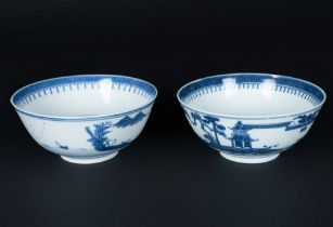Arte Cinese  A pair of blu and white porcelain cups painted with landscape and bearing four characte