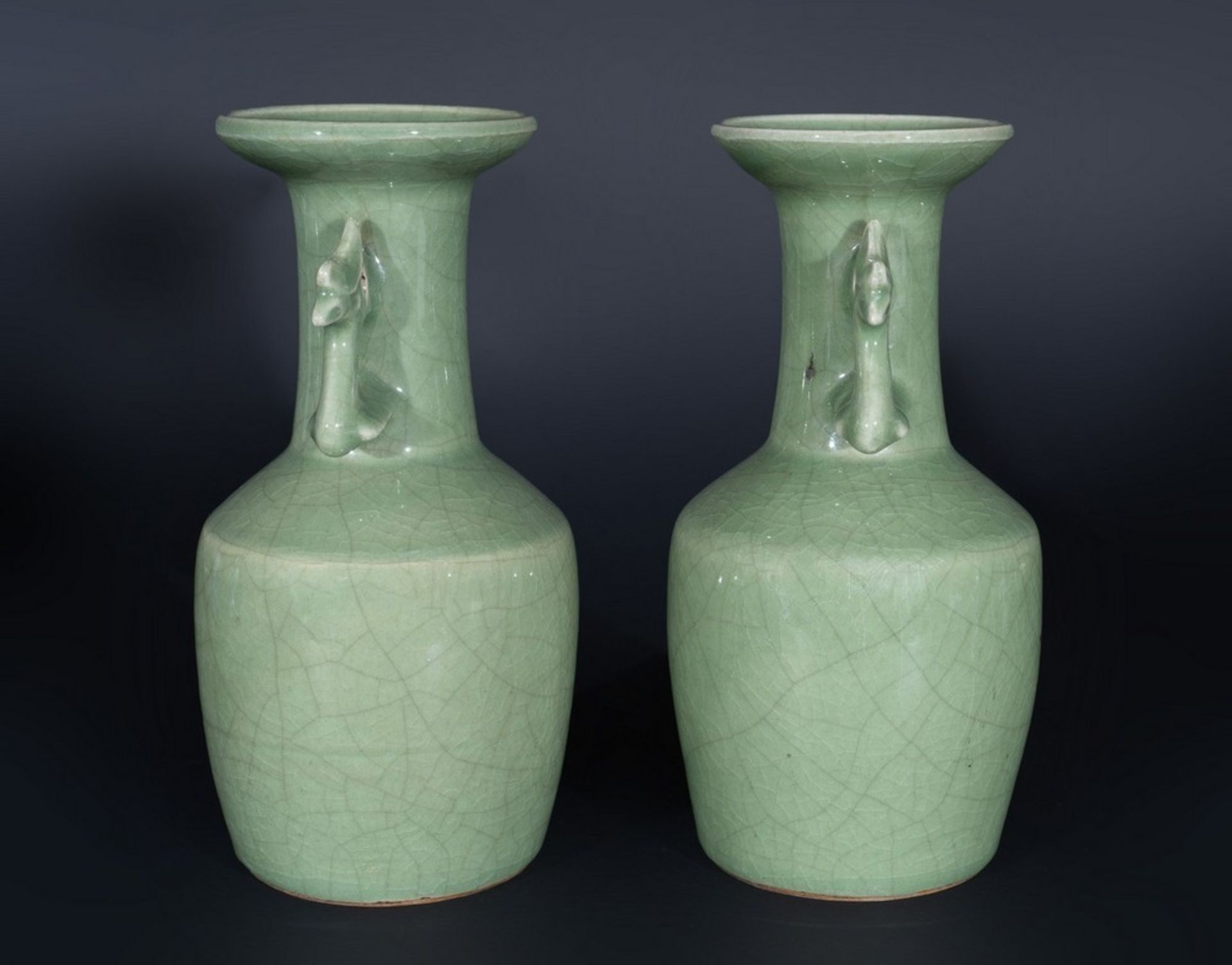 Arte Cinese A pair of celadon glazed pottery vases with zoomorphic handles China, Qing dynasty, 19t - Image 3 of 4