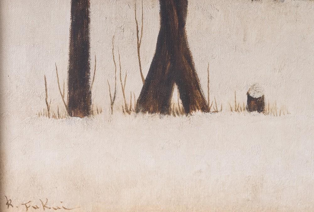 Ryonosuke Fukui Ryonosuke Fukui (1924-1986)Snowy landscape with bare trees Japan, mid 20th century O - Image 2 of 4