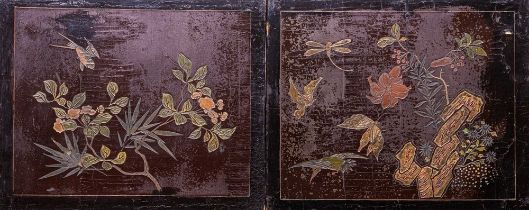 Arte Cinese  A pair of wooden lacquered screens carved with flowers, rocks, butterflies and birdsChi