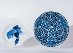 ARTE GIAPPONESE  Two blue and white pottery dish Japan, 18th-19th century .