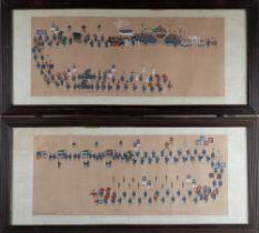 .  A pair of paintings on silk depicting royal parades Korea, 19th century .