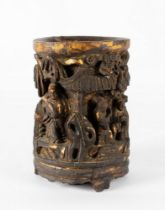 Arte Cinese  A large wooden lacquered bitong brush pot carved with characters China, Qing dynasty, 1
