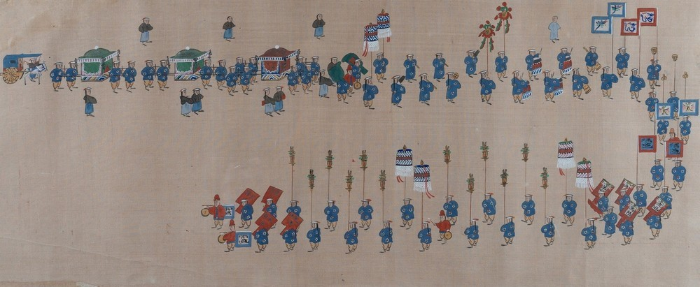 . A pair of paintings on silk depicting royal parades Korea, 19th century . - Image 4 of 6