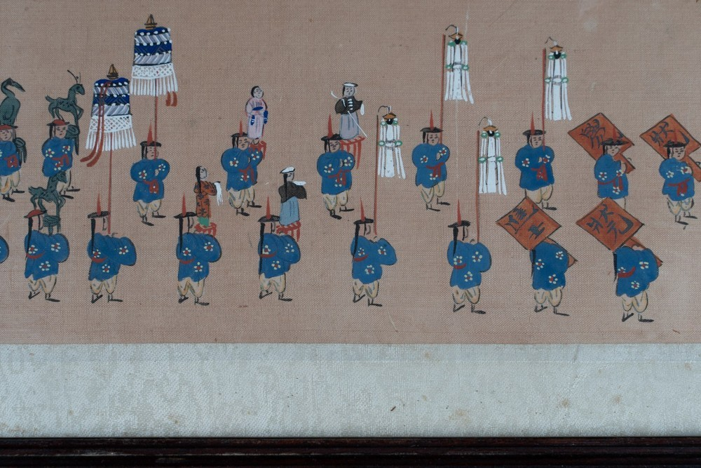 . A pair of paintings on silk depicting royal parades Korea, 19th century . - Image 3 of 6