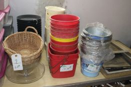 LOT PLASTIC BUCKETS AND CONDIMENT HOLDERS