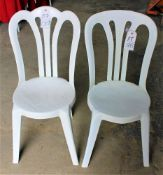 Scalloped Back White Resin Chairs