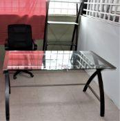 Lot of Glass Top Desk, Book Shelf & Office Chair