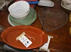 BOWLS, SERVING PLATES, CLAY PAN