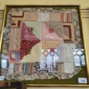 A South American embroidered panel, 44 x 44 cm and three other framed fabrics (4)