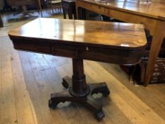 A 19th century rosewood card table, on a column support, 93 cm wide
