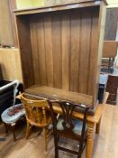 A pine kitchen table and three chairs, an oak bookcase, 107 cm wide, two chairs and a stool (6)