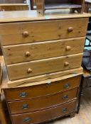 A 19th century mahogany bow front chest, having three drawers, on bracket feet, 88 cm, a pine chest,