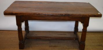 An oak refectory style table, on turned legs, 78 x 160 cm