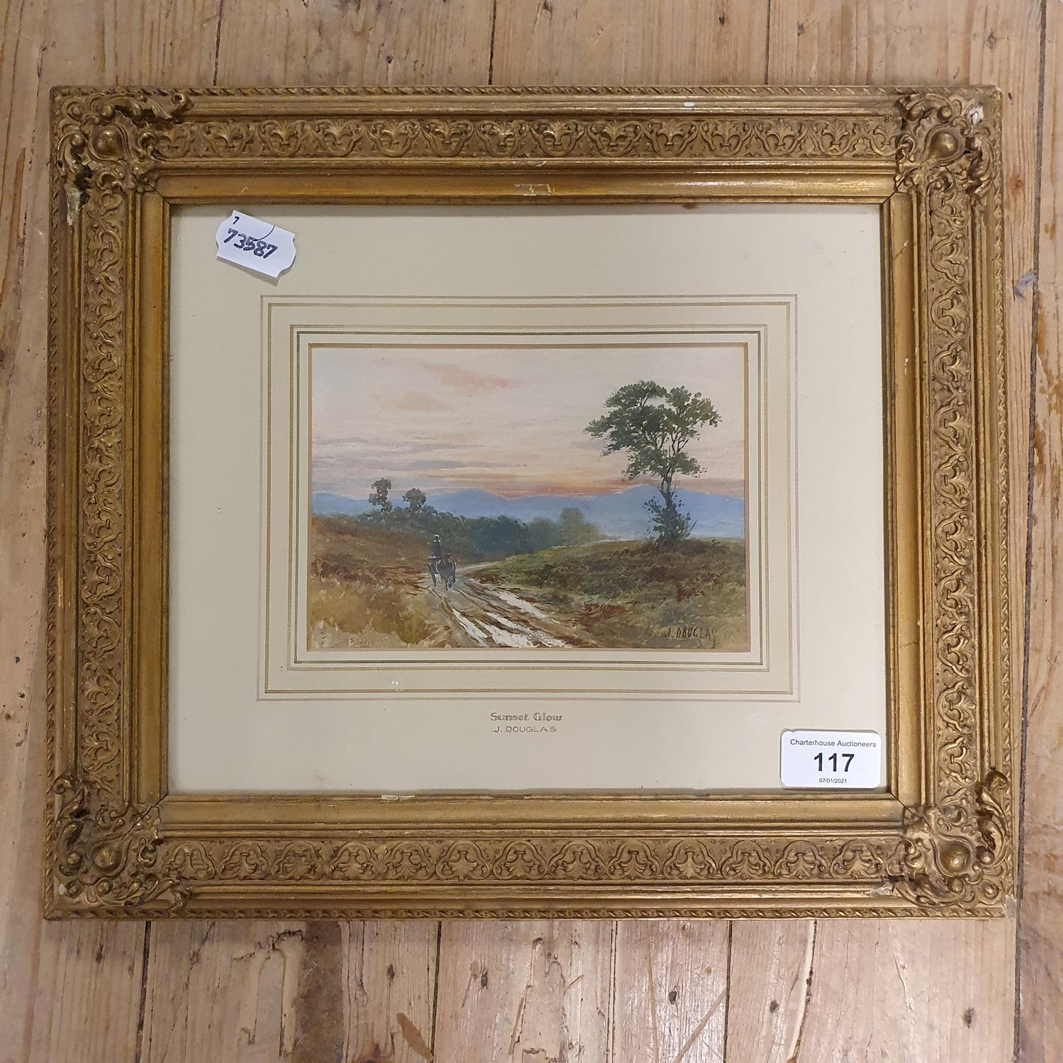 J Douglas, landscape with horse and cart, watercolour, signed, 13 x 18 cm - Image 2 of 3
