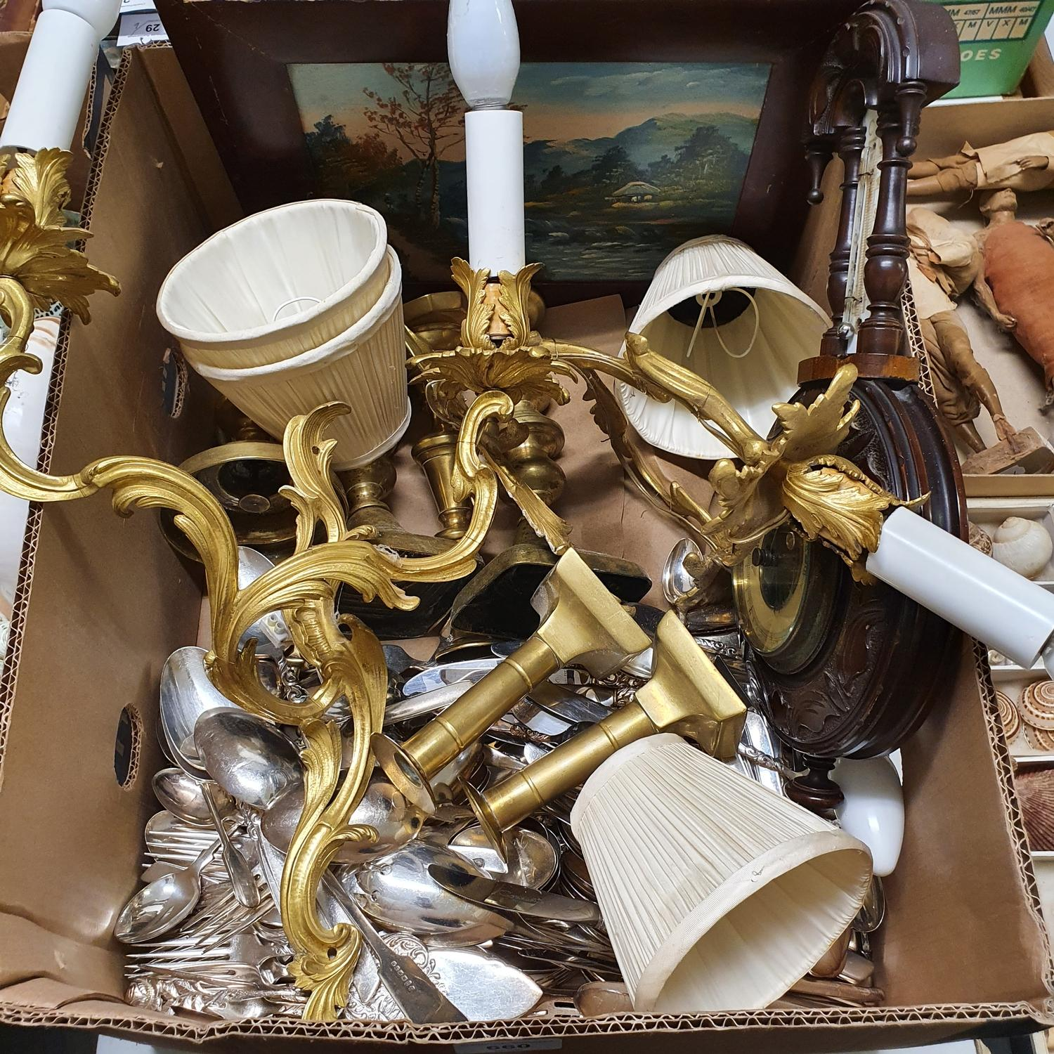 A pair of rococo style gilt metal wall lights, 38 cm high, two pairs of brass candlesticks, and - Image 2 of 2