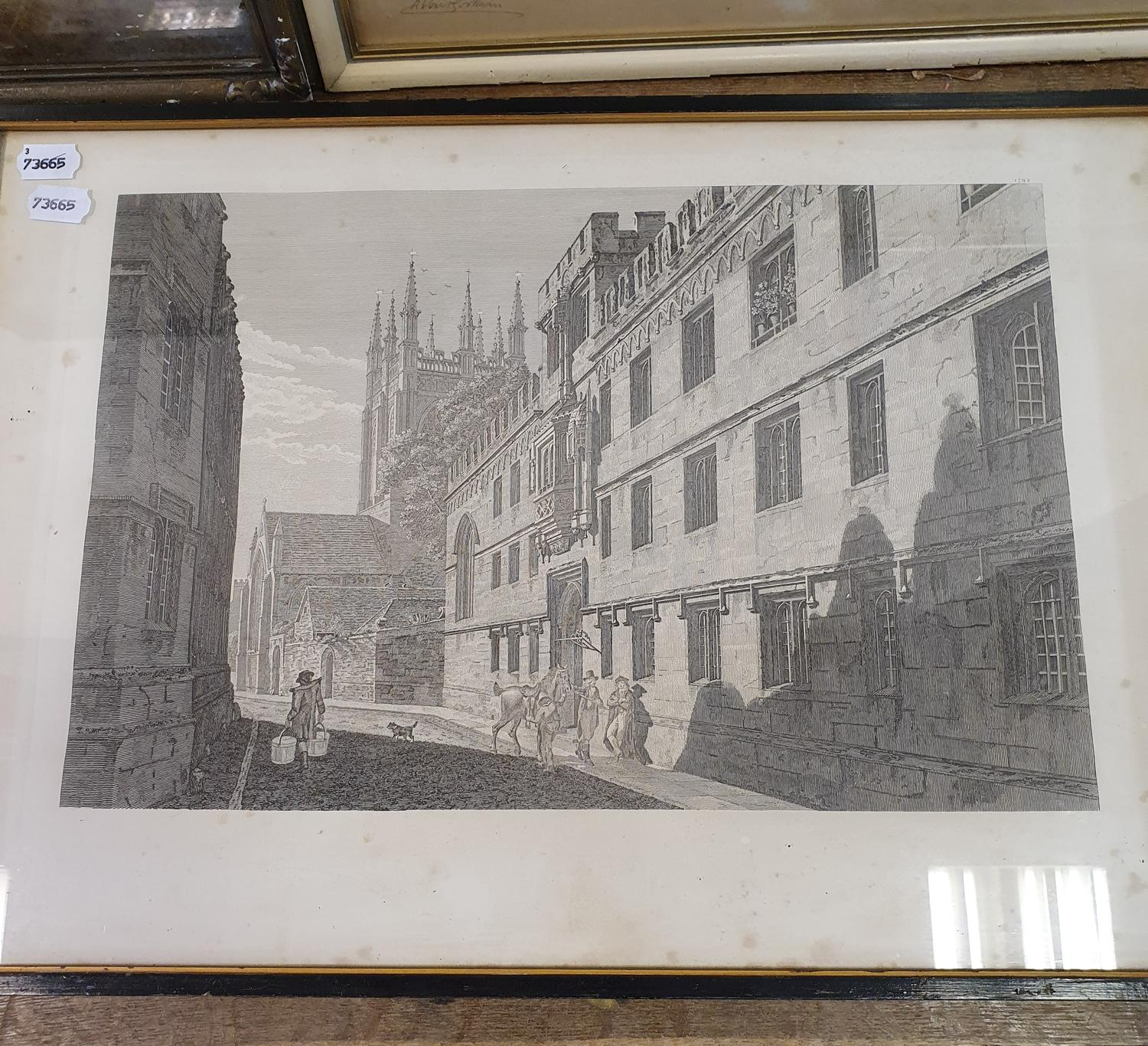 An Albert Godwin print of a church and graveyard, signed in pencil, 38 x 55 cm, another print and - Image 2 of 4