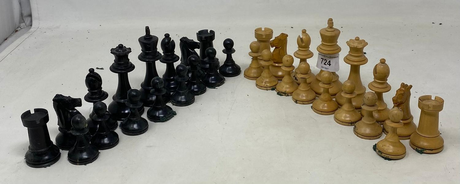 A stained and natural wood chess set, loaded, the king 9 cm high, boxed