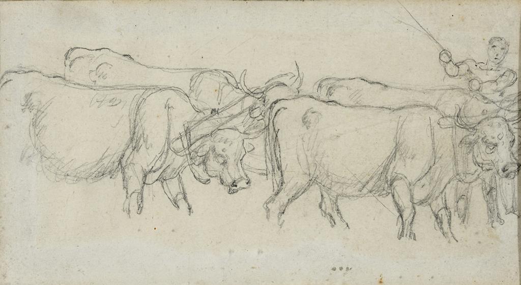 English school, 19th century, a man driving cattle, pencil, 10 x 19 cm