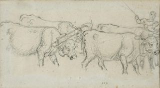 English school, 19th century, a man driving cattle, pencil, 10 x 19 cm