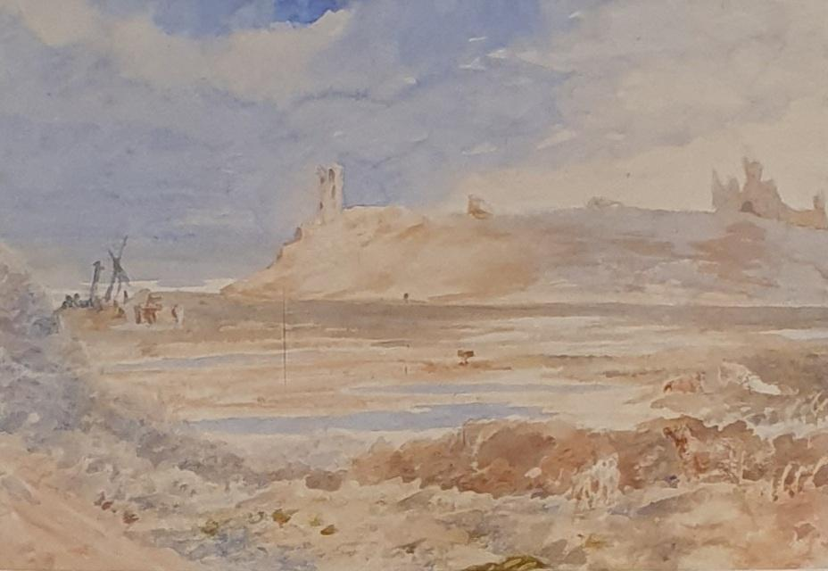 English school, 19th century, landscape with figure, watercolour, 11x 22 cm and a beach scene, - Image 2 of 4