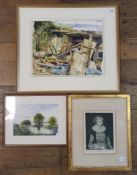 George Cox, a scrapyard, watercolour, dated 1988, 33 x 41 cm and two other pictures (3)