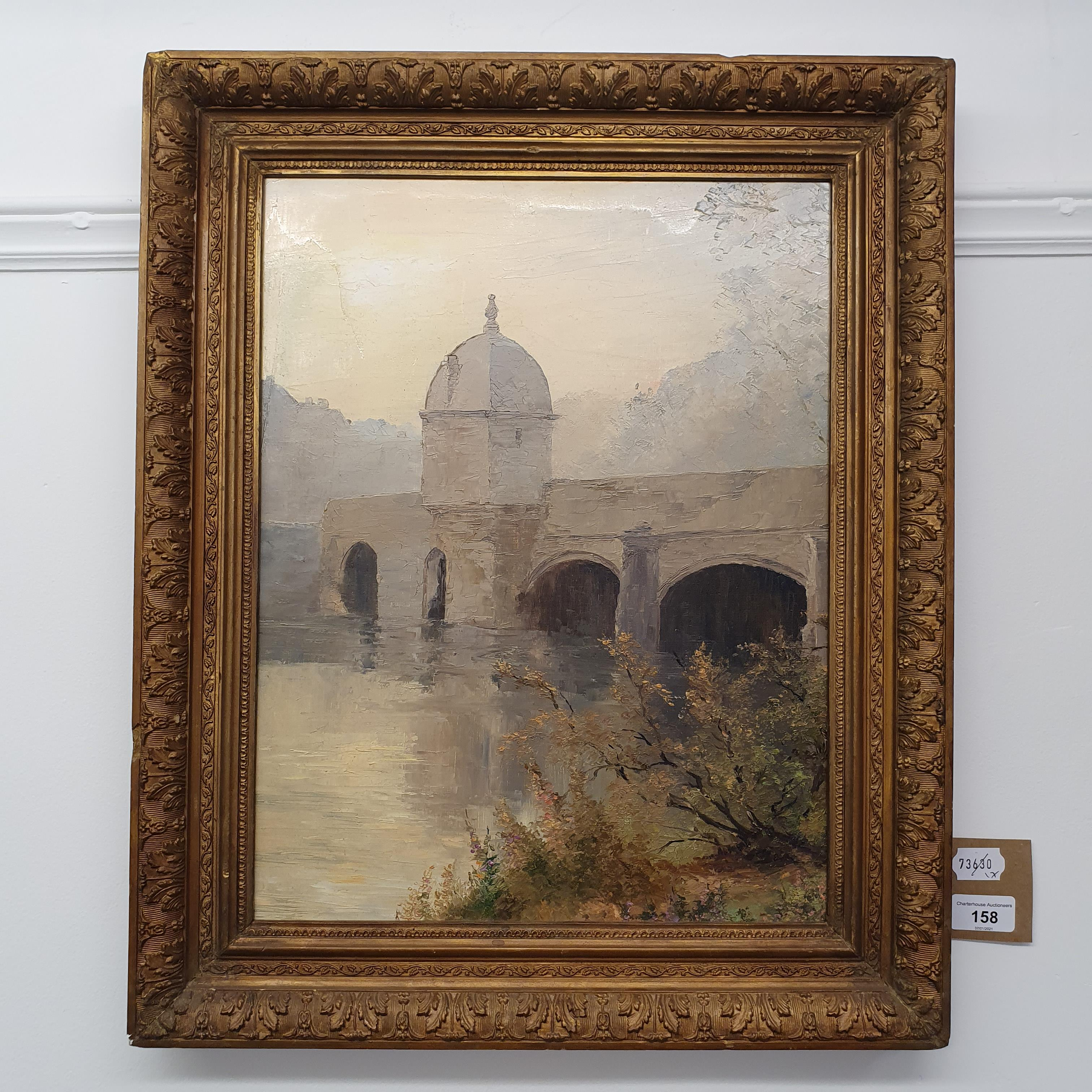English school, 20th century, a bridge with a turret, oil on board, 43.5 x 33 cm - Image 2 of 3