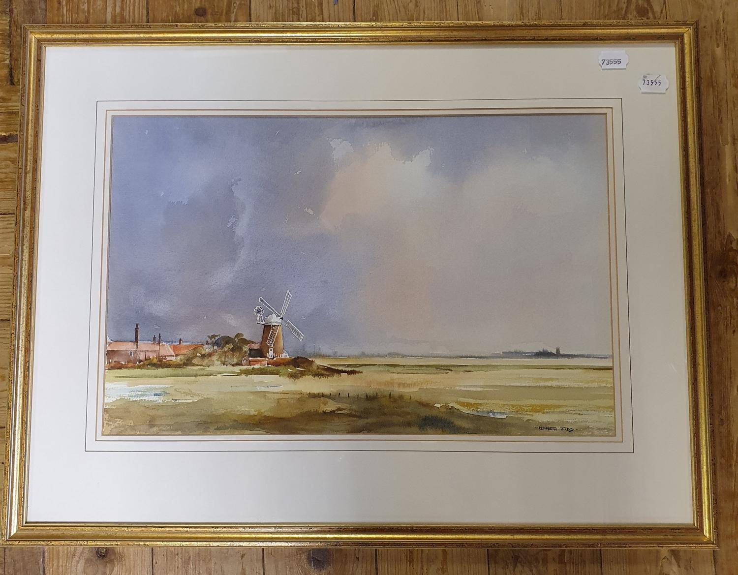Kenneth Lidd, landscape with a windmill, watercolour, 34 x 52 cm - Image 2 of 3