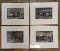 A set of four prints, Fore's Stable Scenes, Thorough Breeds, The team, The Mail Change, The