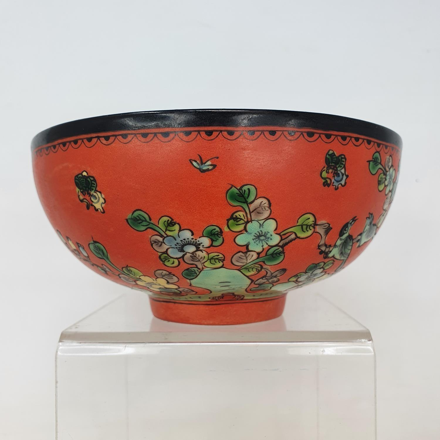 A Chinese red ground bowl, decorated birds, flowers and script, six character mark to base, 14 cm - Image 2 of 6