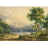 Continental school, 19th century, a landscape with figures and cattle and mountainous background,