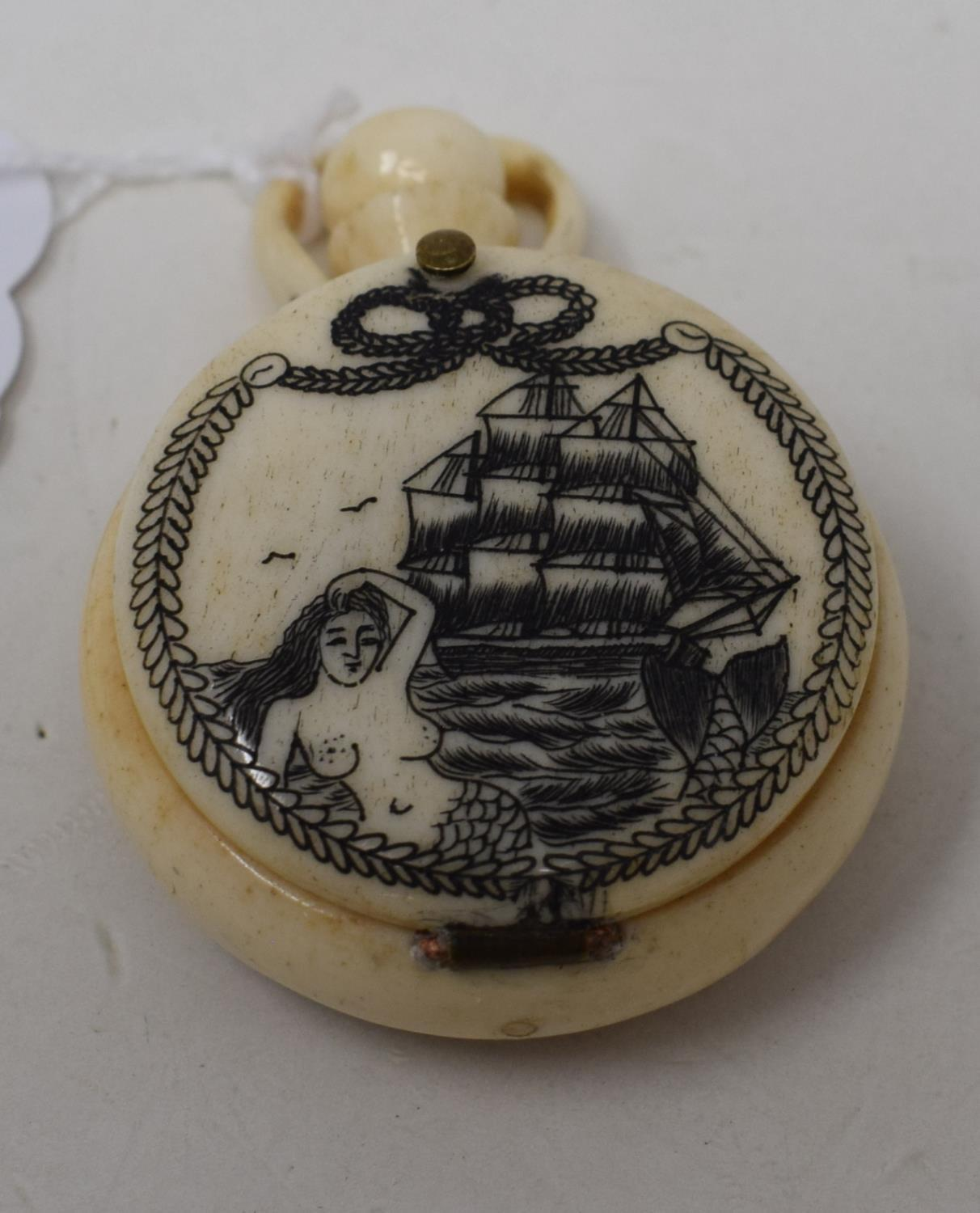 A modern bone compass, the cover engraved a galleon - Image 2 of 2