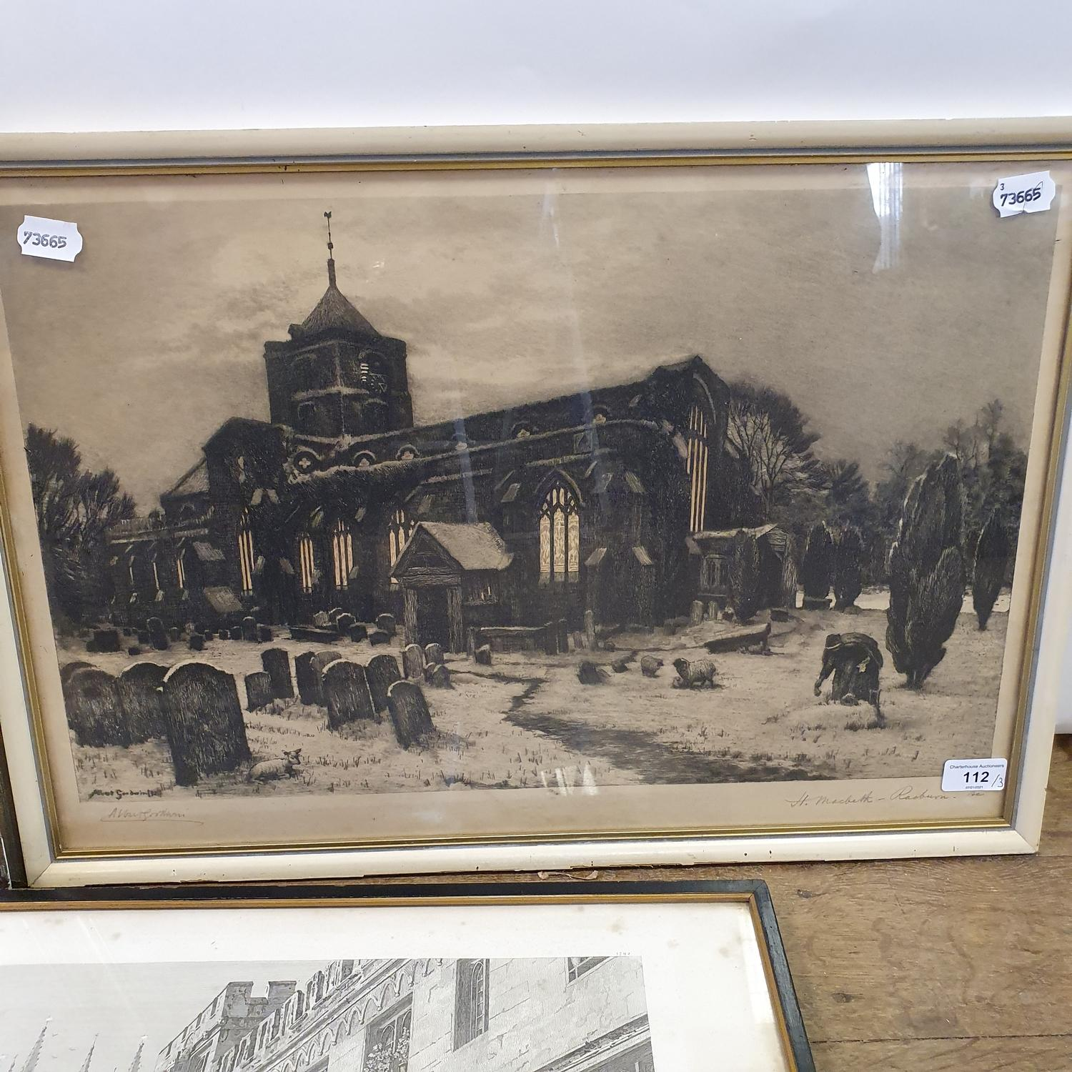 An Albert Godwin print of a church and graveyard, signed in pencil, 38 x 55 cm, another print and - Image 4 of 4