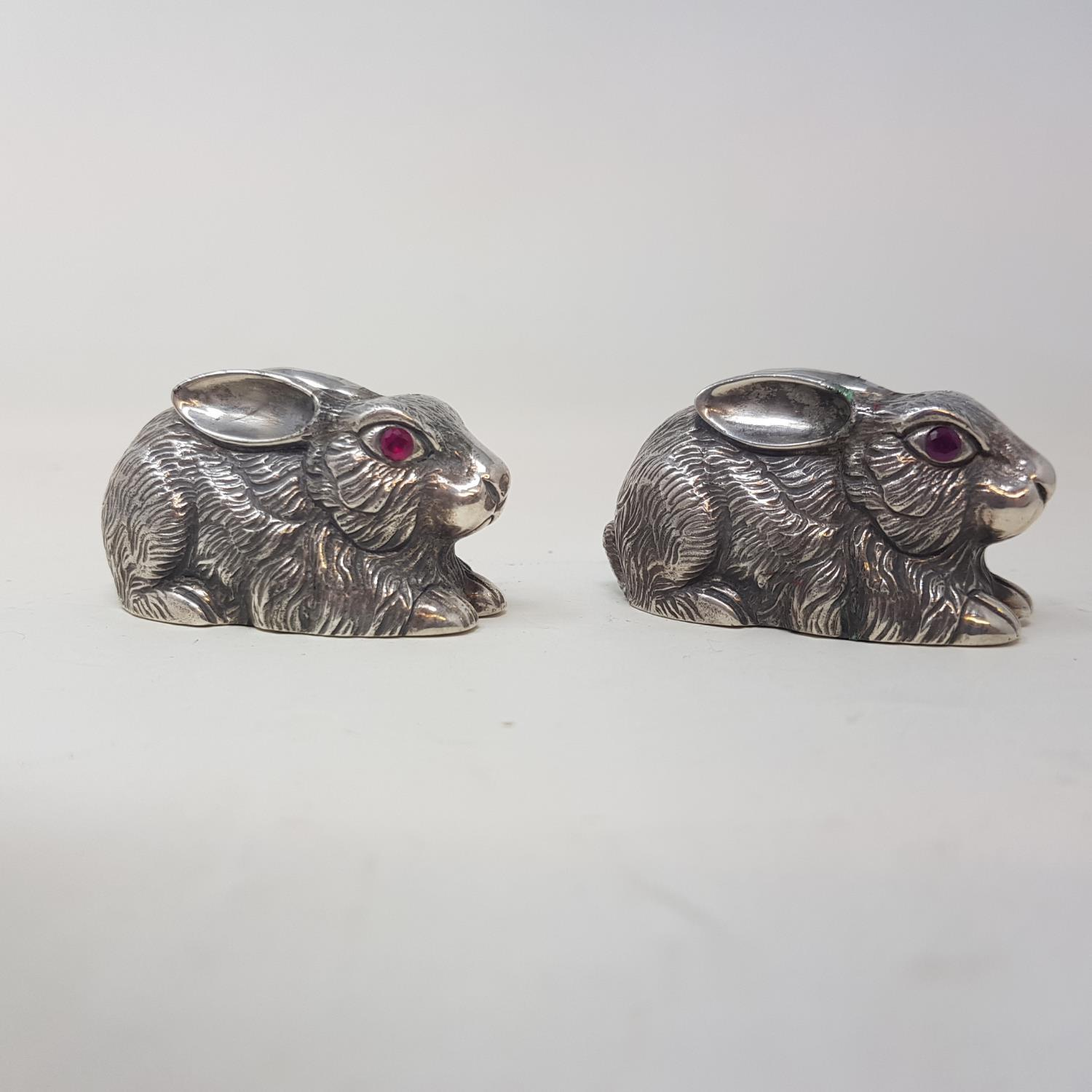 A pair of novelty silver condiments, in the form of rabbits - Image 2 of 2