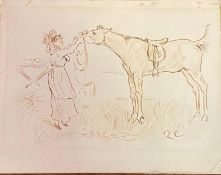 Randolph Caldecott (1846-1886), a lady with a horse, pen and ink, initialed, 13 x 16 cm