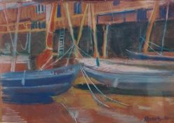 Marie Blake, a harbour scene, pastel, 14 x 19 cm