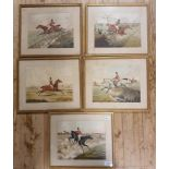 A set of five 19th century hunting prints, 22 x 28 cm (5)