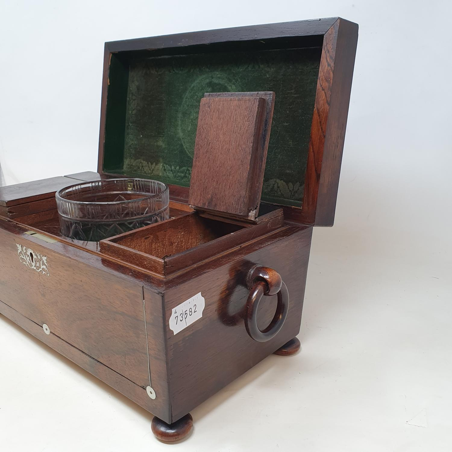 A 19th century rosewood tea caddy, with mother of pearl inlay, 33 cm wide, and an oak desk stand, 23 - Image 4 of 5