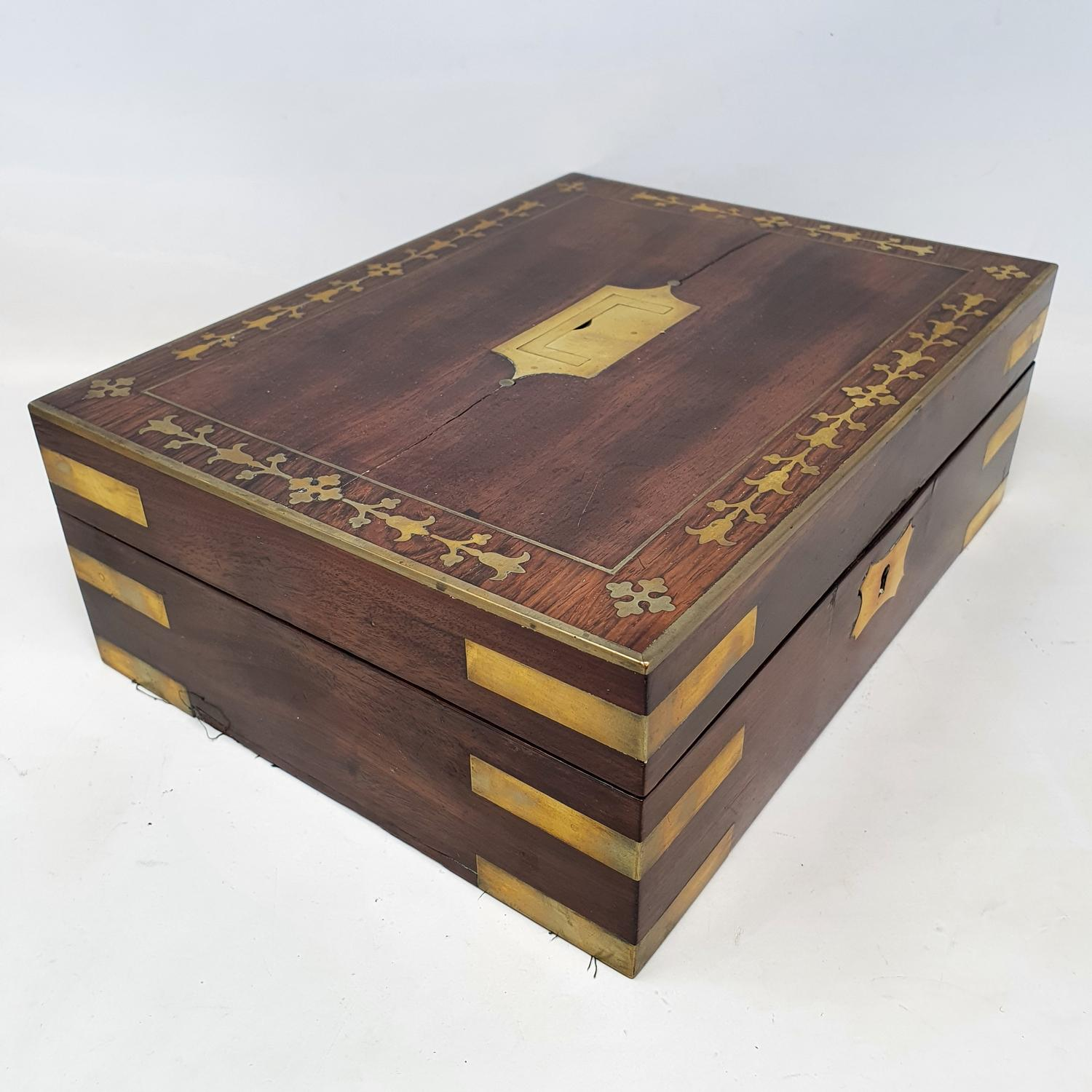 A 19th century mahogany and brass bound jewellery box, with a fitted interior, 30 cm wide - Image 4 of 5