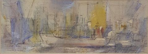 Gerald Cox, a dock scene, watercolour, signed and dated '92, 15 x 42 cm