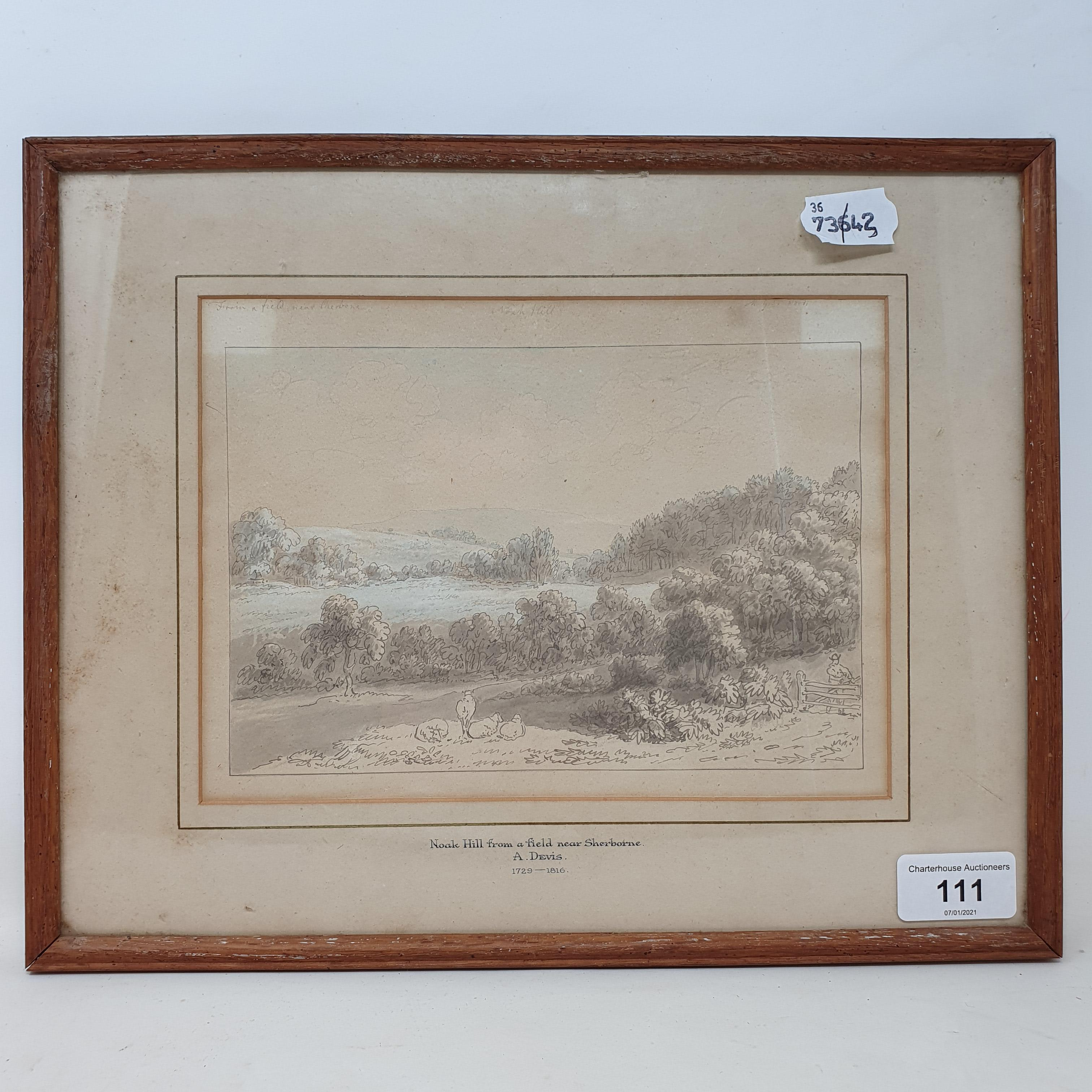 Anthony Thomas Devis (1729-1816/17), Noak Hill from a field near Sherborne, watercolour and - Image 2 of 5