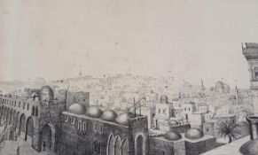 A 19th century Panoramic view of Jerusalem, 23 x 148 cm, in a tube and cover