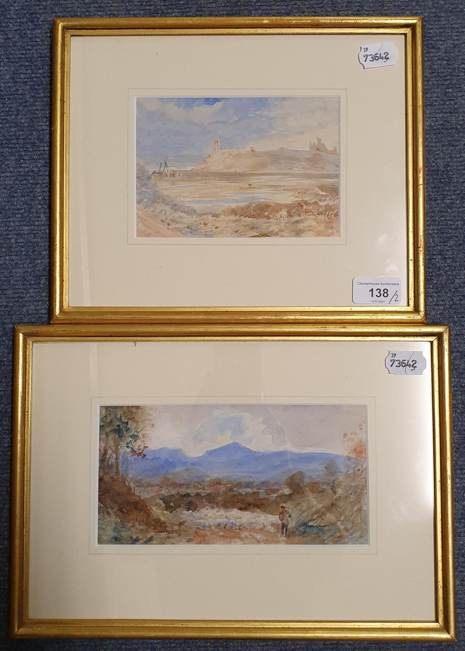 English school, 19th century, landscape with figure, watercolour, 11x 22 cm and a beach scene, - Image 3 of 4