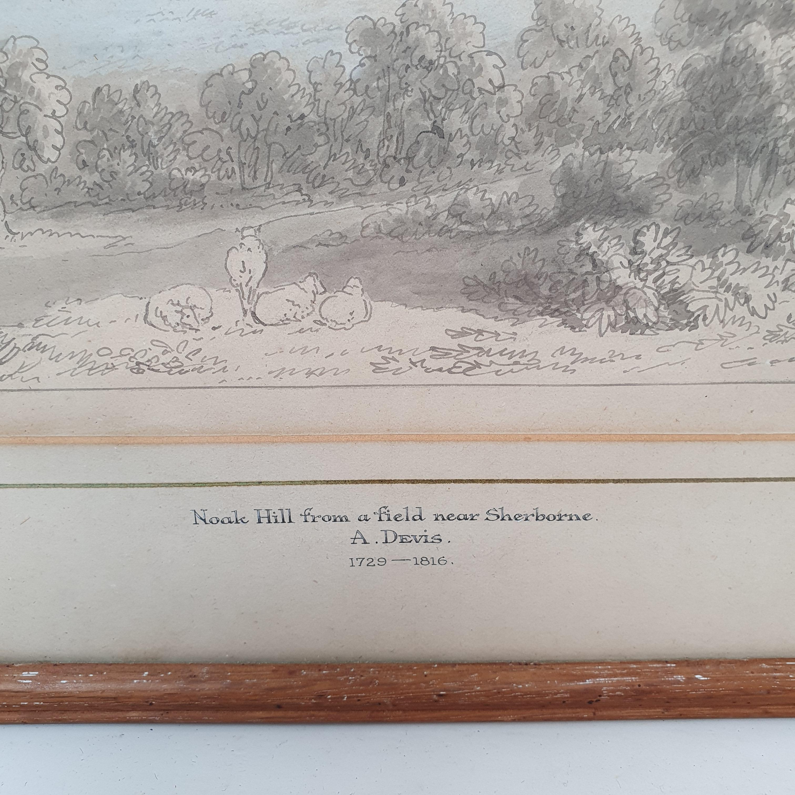 Anthony Thomas Devis (1729-1816/17), Noak Hill from a field near Sherborne, watercolour and - Image 3 of 5