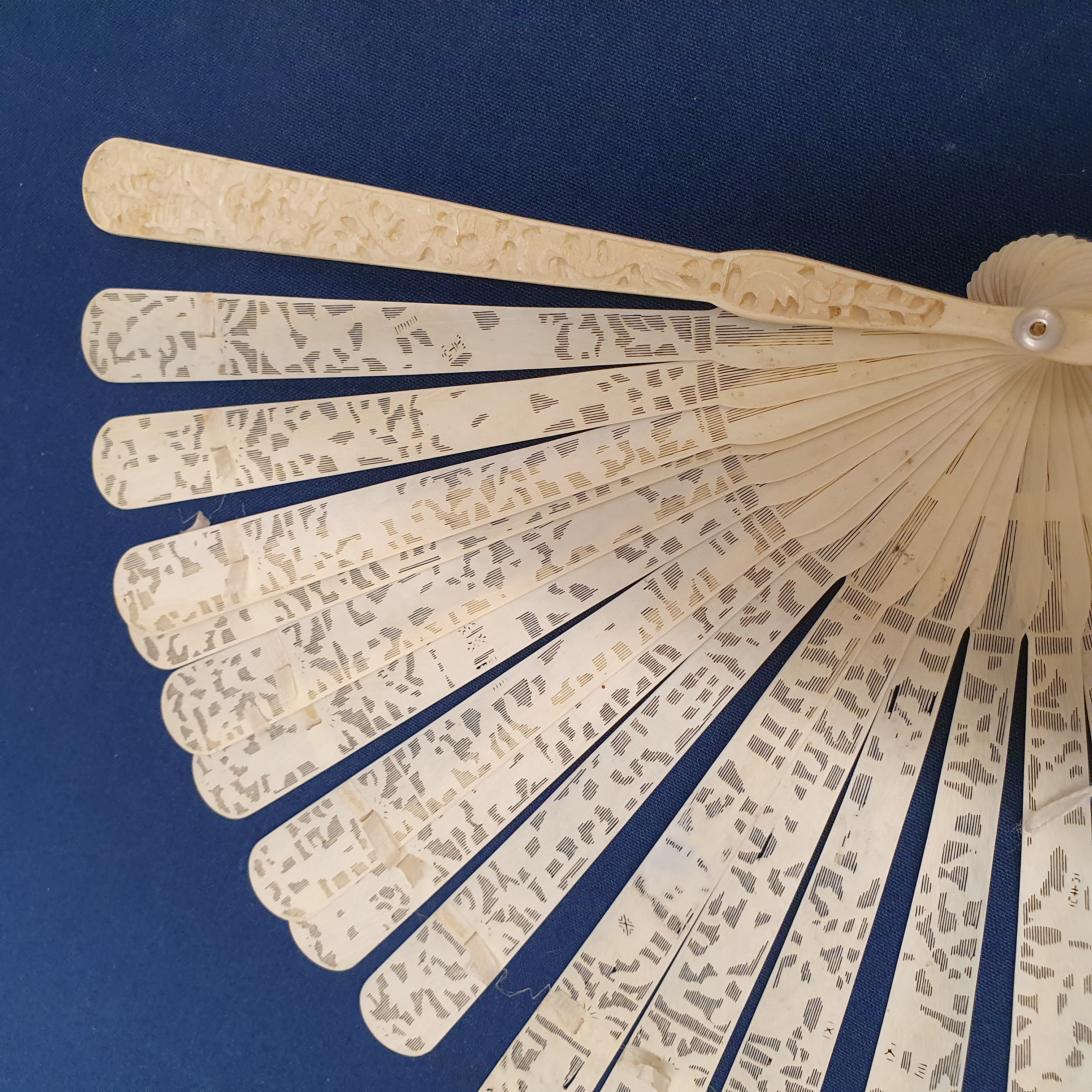 A Chinese ivory brisee fan, two others, and a similar fan with silk embroidered decoration, in a - Image 43 of 47
