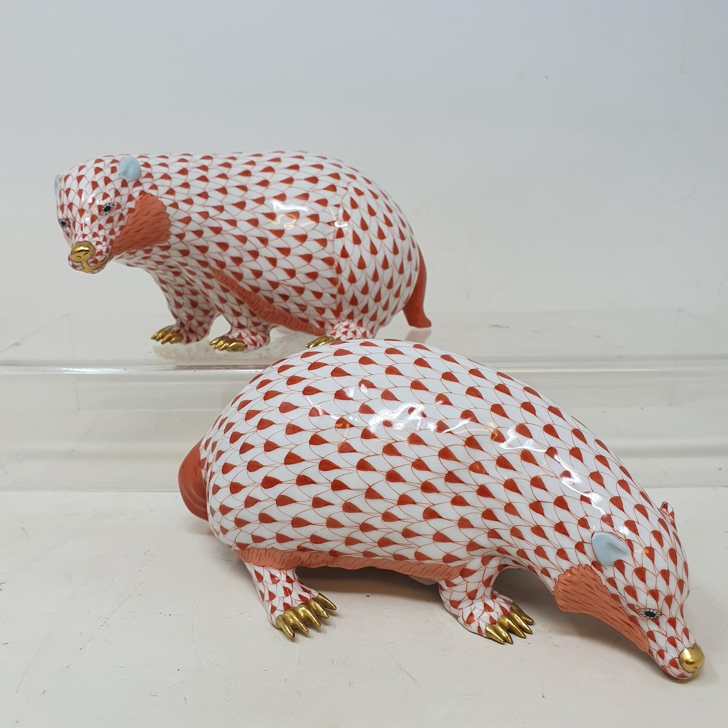 A pair of Herend porcelain badgers, 17 cm wide