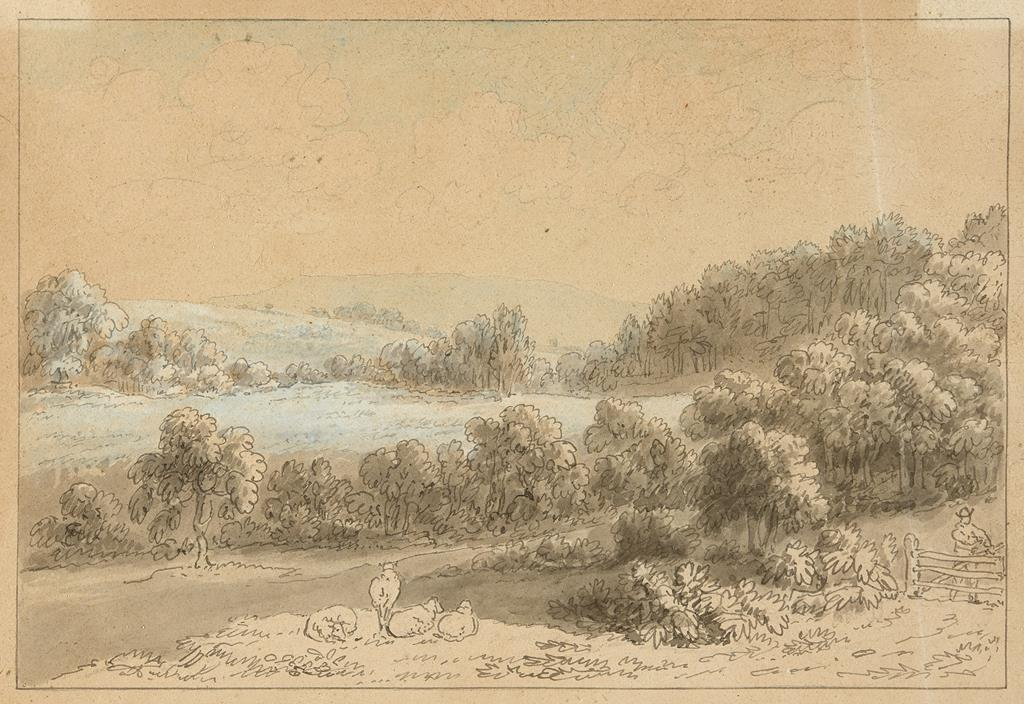 Anthony Thomas Devis (1729-1816/17), Noak Hill from a field near Sherborne, watercolour and