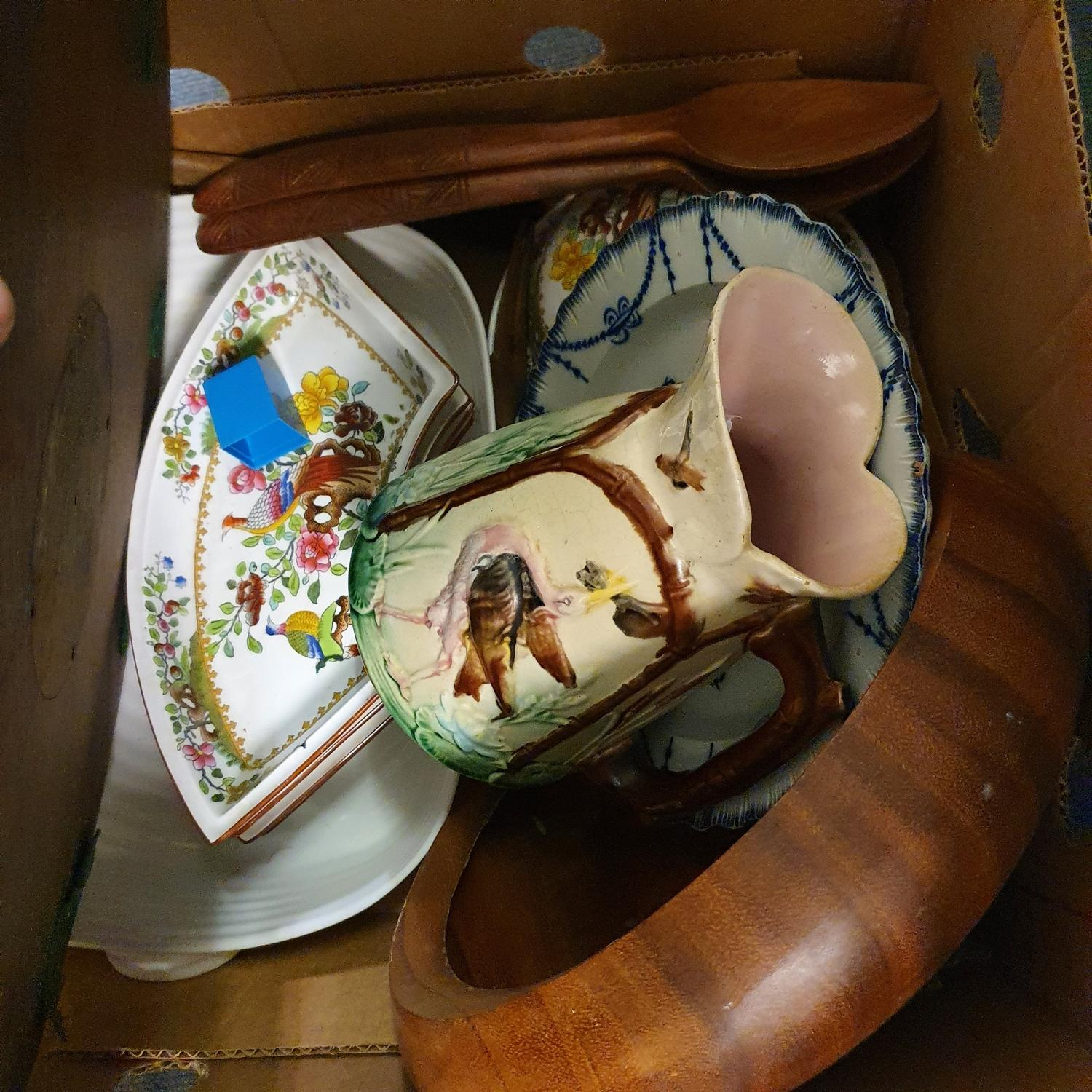A mahogany dumb waiter, two pairs of silver plated fighting cockerels, and other items (box) - Image 2 of 3
