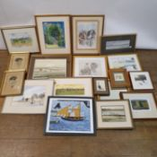 Michael Woods, landscape, watercolour, signed, and various other prints and pictures (qty)